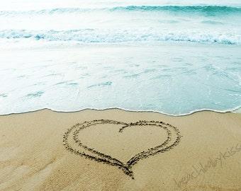 Whimsical Heart at High Tide Sand Writing