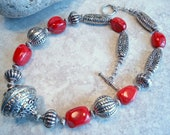 Chunky Red Coral Nugget Necklace