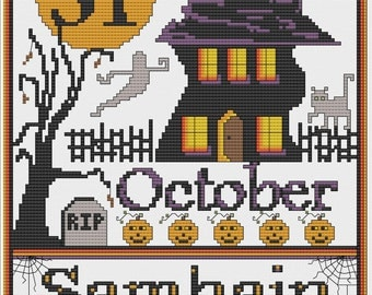 Halloween Samhain Sampler Cross Stitch Instant Downloads