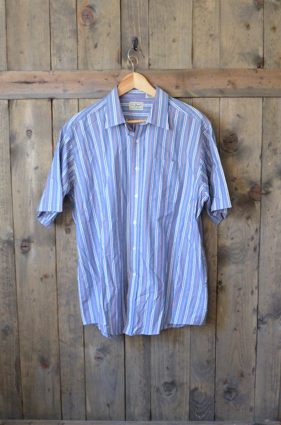 LL BEAN blue stripes short sleeve cotton shirt / mens large