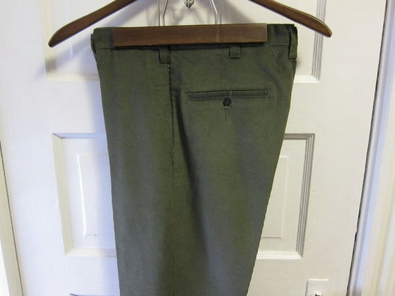 1960s Permanent Press Olive Green Tapered Corduroy Trousers 31 x 28
