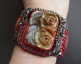 """FREE SHIPPING Bead Embroidery Cuff   """"Roses""""  Bracelet"""
