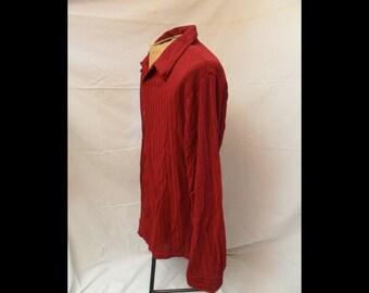 Textured Burgundy Mens Long Sleeve