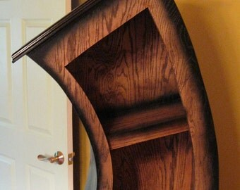 Free Shipping/Handmade 6ft Curved Bookshelf/Bookcase/Storage/Oak Stained/Blk