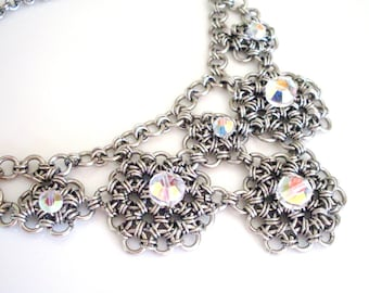 Chainmail bib necklace made with Swarovski Elements Austrian crystal - lacy chainmail necklace in dark silver, chainmaille jewelry.
