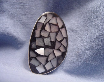 Sterling Silver & Mosaico oval broach