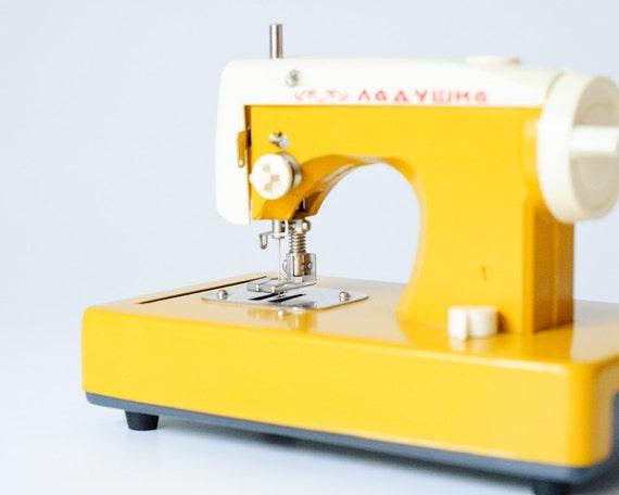 Toy Sewing Machine - Vintage - Made in USSR - Yellow Mustard - Ladushka - Nursery Decor