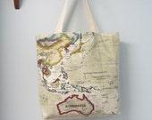 Tote Bag  Beige Cotton World Map Atlas Fabric