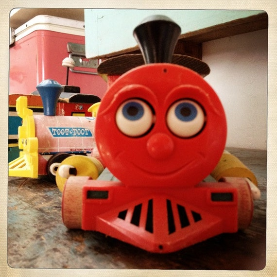 adorable vintage toy train collection...