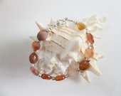 Faceted Carnelian and Hil Tribe Silver Bracelet
