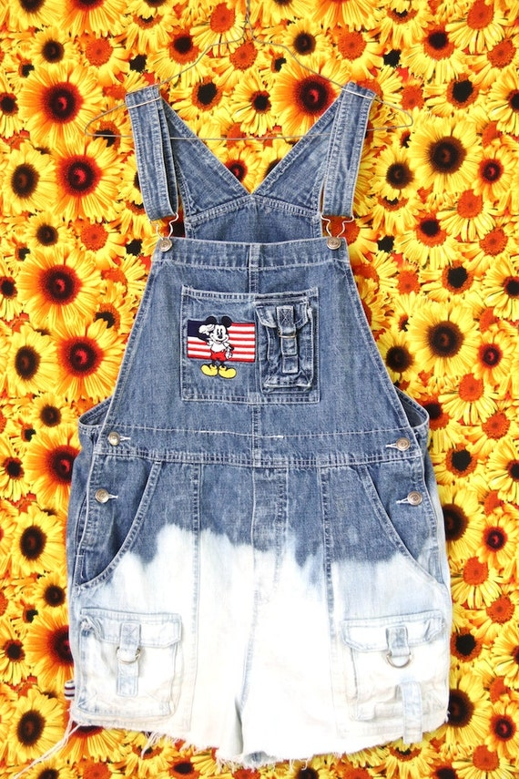 acid dipped and frayed, mickey mouse america overalls