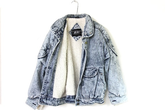 90s vintage shearling, acid wash JEAN JACKET