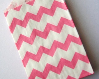 20 Pink Mini Chevron Bitty Bags - Party Favor - Candy - Party Supplies A122