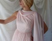 Reserved for Madeleine - Pink Chantilly Lace Dress - Vintage Prom Dress - Vintage Bridesmaid Dress - Vintage Cocktail Dress  - Mad Men Style