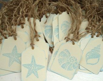 50 Wedding Tags, Custom Wedding Tags, Beach Wedding, Shell Tags, Starfish Tags, Seashells, Seahorses, Beach Themed Tags, Wedding Favors