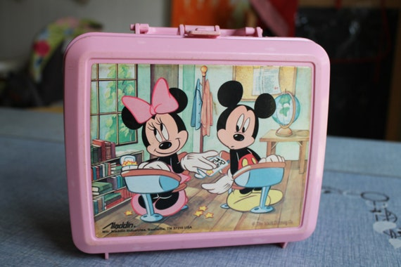 Vintage Mickey & Mini Mouse Pink Lunch Box
