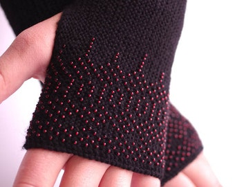 Soft long PURE merino wool beaded fingerless gloves/wrist warmers in black with modest red - READY to ship