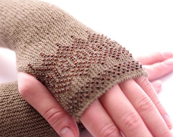 Cozy beaded woollen beaded fingerless gloves/wrist warmers in olive green with a touch of modest brown glass beads