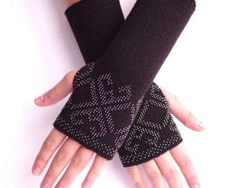 Hand knitted merino wool and polyamide blend beaded fingerless gloves, wrist warmers, arm warmers, fingerless mittens in black