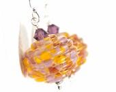 Sunset Glass Bead Earrings, Crystal Red Purple Earrings, Red Purple Crystal Pendant Earrings - Sunset Crystals - DaviniaDesign
