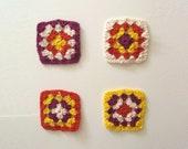 Granny Square Crochet Coasters - Geometric - Cotton - Set of 4 - Paprika, Ivory, Sunshine & Orchid