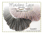 Beading Pattern, Instructions, Tutorial, Right Angle Weave, RAW Lacy Collar and Earrings Instant Download MAIDENS LACE