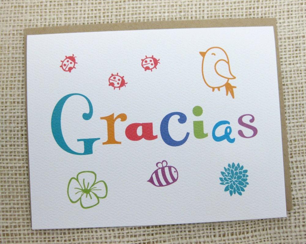 Gracias Spanish Thank You Thank You Note Cute Spring