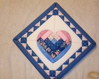 Light Blue And Pink  Heart Faux Quilt Picture