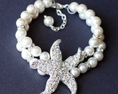 Bridal Pearl Rhinestone Bracelet Double Strand STARFISH Crystal Beach Wedding Jewelry BL009LX