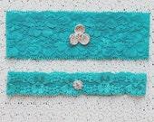 Something Blue Garter Set Rhinestone Crystal Ribbon Lace Toss Keepsake Garter Tiffany Blue GR039LX