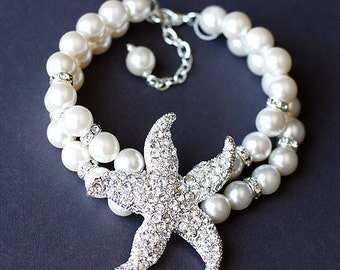 Bridal Pearl Rhinestone Bracelet Double Strand STARFISH Crystal Beach Wedding Jewelry BL009LX