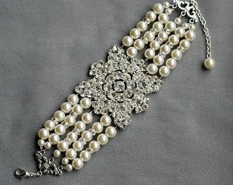 Bridal Pearl Rhinestone Pearl Bracelet Crystal Cuff Wedding Jewelry Ivory Pearl BL034LX