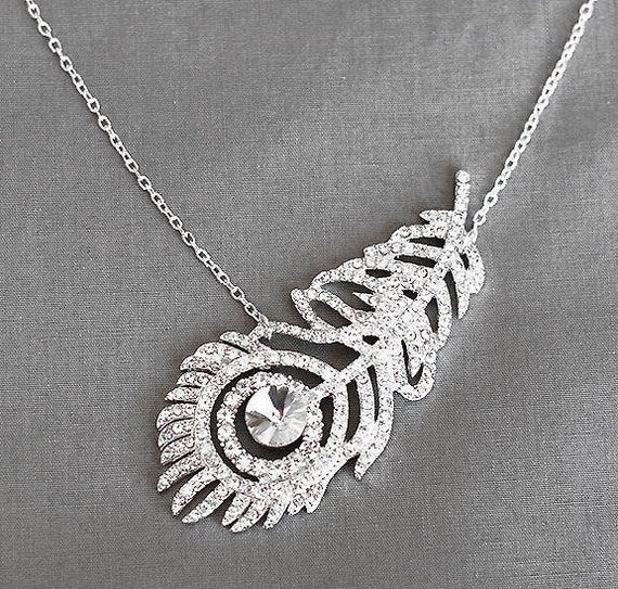 Bridal Rhinestone Necklace with Sterling Silver Chain Peacock Feather Wedding Crystal Jewelry NK029LX