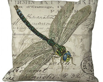 Dragonfly in Choice of 14x14 16x16 18x18 20x20 22x22 24x24 26x26 inch Pillow Cover