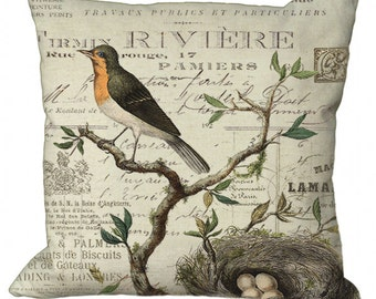 Robin, Nest & Eggs on French Invoice in Choice of 14x14 16x16 18x18 20x20 22x22 24x24 26x26 inch Pillow Cover