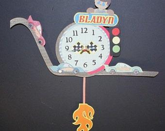 Race Car Pendulum Wall Clock