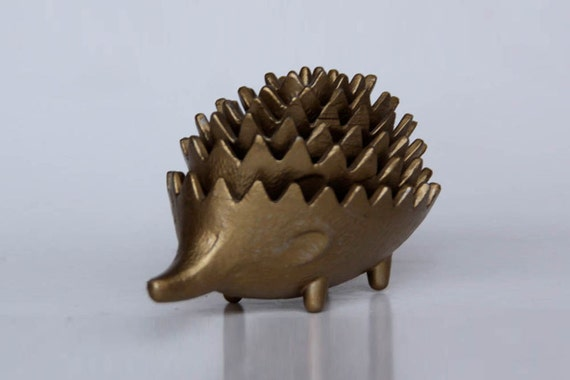 Vintage Austrian Set of 6 Brass Hedgehog Ashtrays - Walter Bosse - 50s