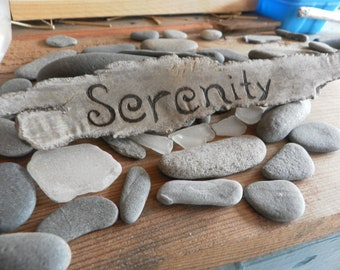 Serenity sign-Matunuck Beach Driftwood pyrography sign hand lettered/burned made to order many sizes available