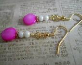 White Earrings, Czech Glass Earrings, Copper Earrings, Purple Shell Earrings, Pink Earrings, Fuchsia Mother of Pearl Shell Beaded Jewelry