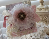 Shabby vintage inspired lovely large lace bloom with vintage center piece handmade card