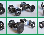 Metal Sculpture Spark Plug Race Car  Re Purposed