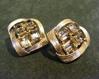 On Sale Kramer Smokey Rhinestone Clip on Earrings