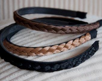 Braided Hair Headband - Light Brown, Black or Golden Blonde Braided Hair Headband