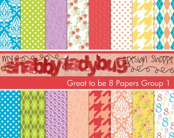 "Great to be 8 Digital Paper Collection Group 1: 16 Individual 12x12"" 300 dpi digital scrapbook papers Baptism"