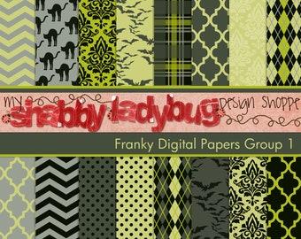 "Franky  Halloween Digital Paper Collection Group 1: 16 Individual 12x12"" 300 dpi digital scrapbook backgrounds"