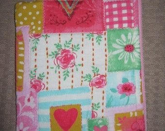 Hearts and Flowers Country quilt print Nook Simple Touch Zippered device only cover