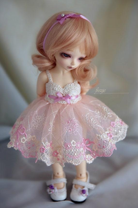 LAST ONE Ecru & pink dress for TINY bjd LittleFee