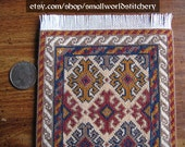 Miniature Doll House Carpet - Persian Red, Brown and Gold Pattern