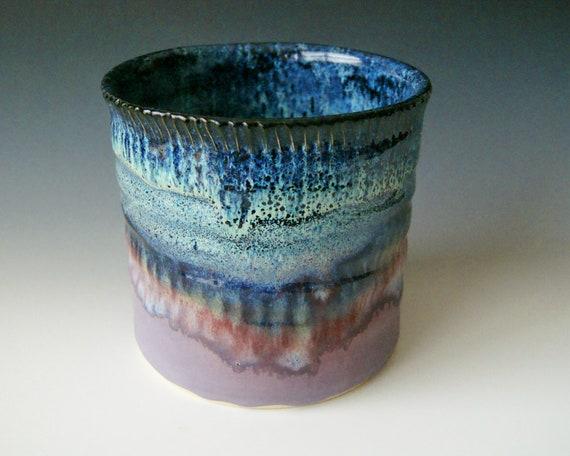 Pottery Utensil Crock / Wine Bottle Chiller , Black Blue and  Lavender