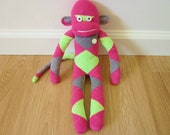 Raspberry lime argyle sock monkey plush - gray, magenta pink, and neon green with pale green vintage button